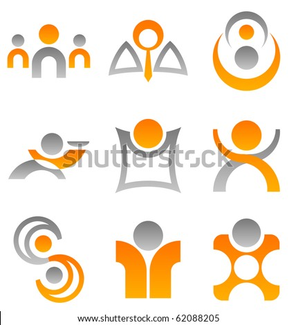 A selection of 9 symbolic illustrations of people which can be used for design elements or icons. - stock vector
