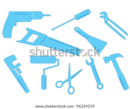 A selection of vector tool shapes for different trades. These simple shapes could be used in business cards or to enhance letterheads. - stock vector