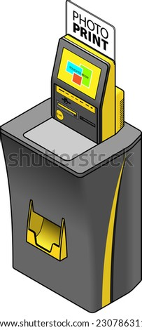 A self-service photo printing terminal / kiosk. With memory slots, CD / DVD drive and NFC tap to transfer services. - stock vector