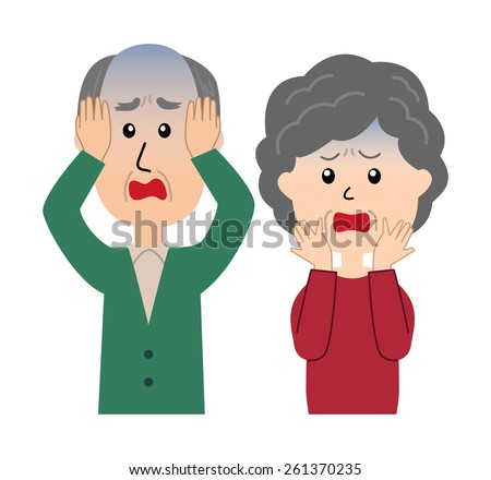 A senior couple with a devastated expression and poses, vector illustration - stock vector