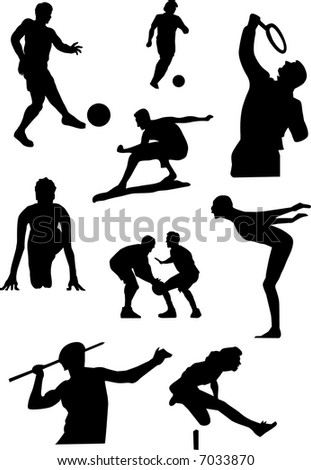 a series of black & white icon for sport, vector, illustration