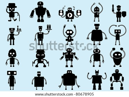A series of cartoon robot - stock vector