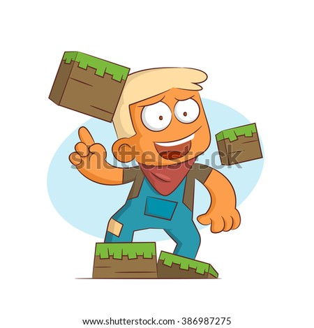 A series of characters on the theme of role-playing games. Vector illustration.Builder - stock vector