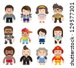 A series of cute characters occupations icons. - stock photo