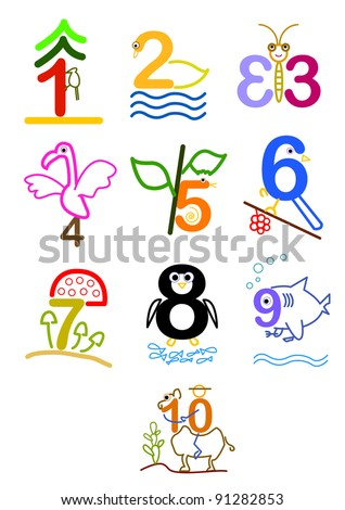 a series of line arts for a concept picture for number 1 - 10. can use for education, birthday, years old, anniversary. - stock vector