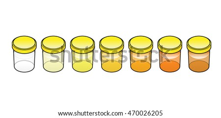 A series of urine / pee samples showing different colors. Indications of levels of hydration.