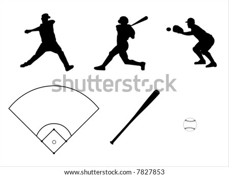 a series of vector icons for baseball - stock vector
