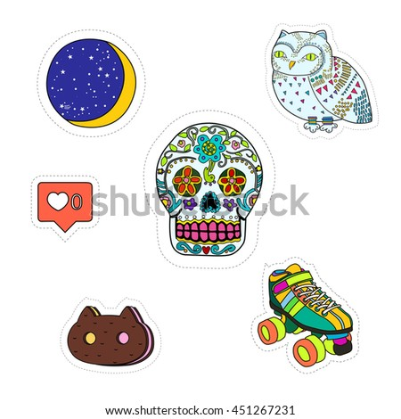 A set cartoon patch badges.patches collection - stock vector