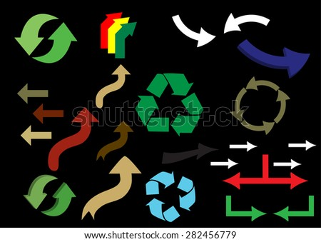 a set colored arrows on black background - stock vector