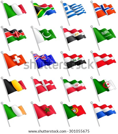 A set composed by the flags of 20 of the most important countries around the world. - stock vector