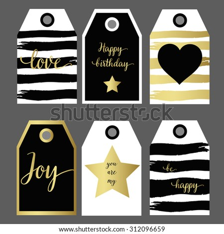A set 6 design gift tag fashion design black and gold hand drawn - stock vector