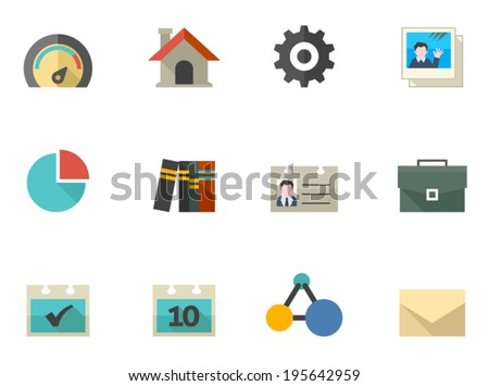A set icons for mobile apps or personal website in flat colors style - stock vector