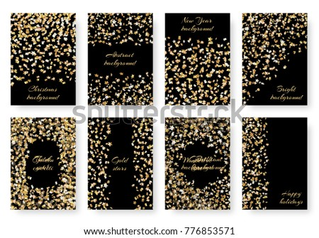 Set new years brilliant birthday invitation stock vector royalty a set new years brilliant birthday invitation mockup with flying golden stars of confetti for festive stopboris Image collections