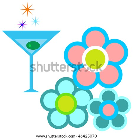 a set of a beautiful icons vector pack including flowers and cocktail spark