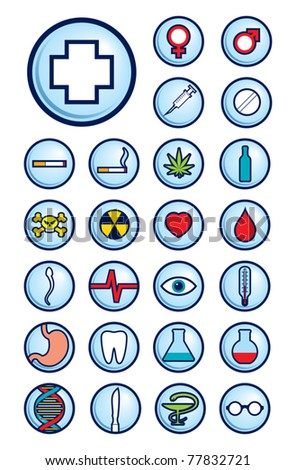 A set of a medicine theme vector icons. Can be easily colored and used in your design. - stock vector