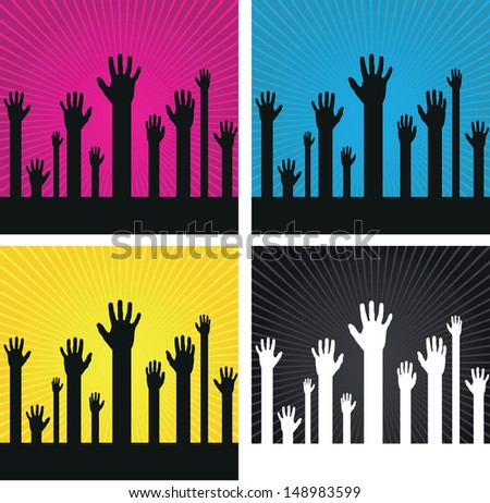 a set of abstract hand silhouettes o spiral backgrounds - stock vector