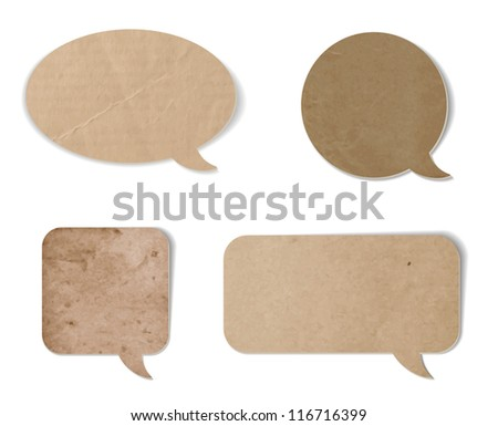 A set of abstract vintage old paper speech bubbles