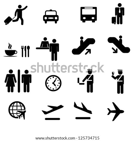 A set of airport icons