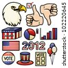 A set of america and election themed illustrations. Vector. - stock vector