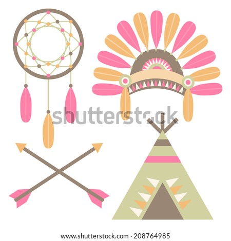A set of American Indian illustrations including a tee-pee, headdress, arrows, and a dreamcatcher. - stock vector