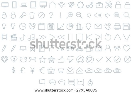 A set of 102 assorted user interface icons in a clean, minimal style.