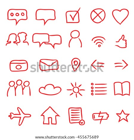 A Set of 25 Authentic Multipurpose App Icons and Symbols - Red Elements on White Background - Infographic Pictogram Sketch Style - stock vector