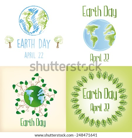 a set of backgrounds and labels with our planet and different elements for earth day - stock vector