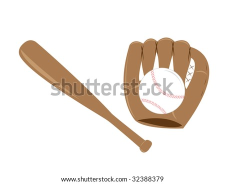 A set of baseball items. - stock vector