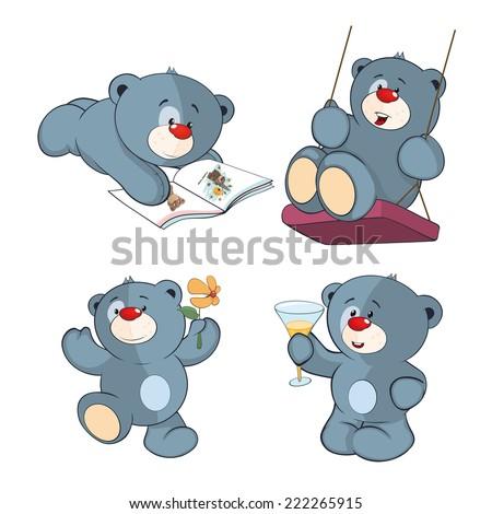 A set of bears cartoon  - stock vector
