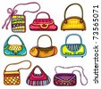 A set of beautifully designed colorful purses. Cute different shapes and prints. Totes, handbags, bucket bag, hobos, clutches, satchel, shoulder bags, chain handle bags. - stock vector