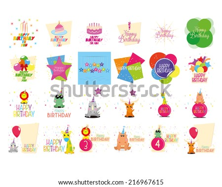 a set of birthday backgrounds with decoration and text
