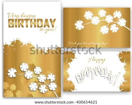 Set Birthday Cards Flowers Branch Stock Vector 400654621 Shutterstock