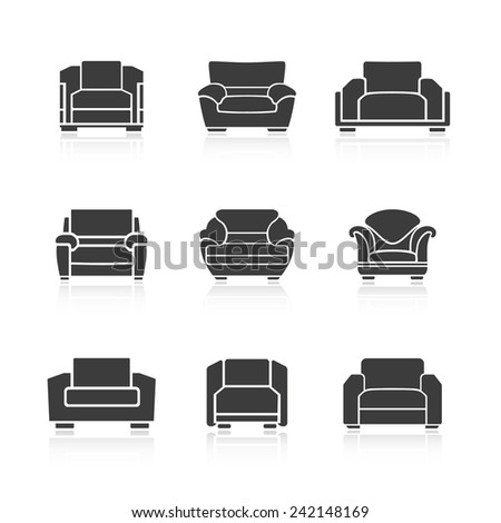 A set of black armchairs on a white background. Vector - stock vector