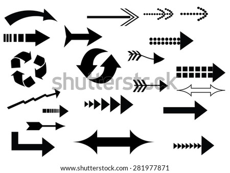 a set of black arrow icons on white background - stock vector