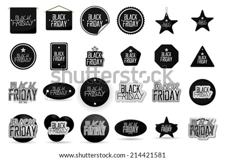 a set of black text and labels for black friday - stock vector