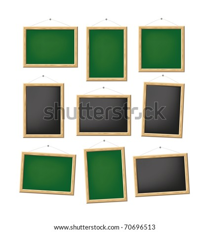 A set of blank green and black boards - stock vector