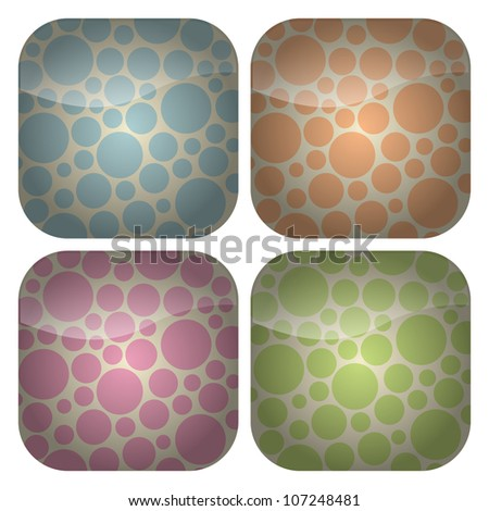 A set of blank rounded square icons with spotty backgrounds in retro pastel hues of blue, pink, green and peach. - stock vector