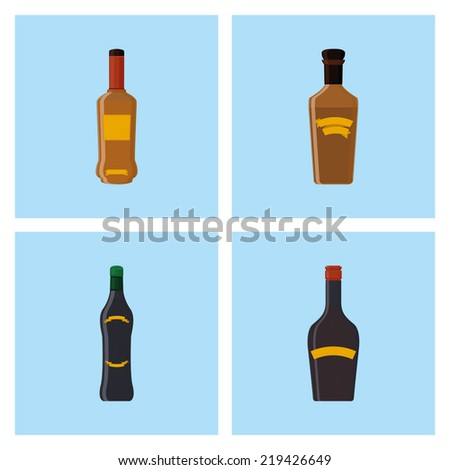 a set of blue backgrounds with different styles of bottles