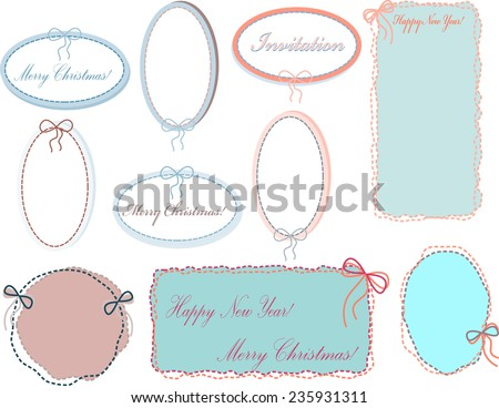 A set of blue colored pastel oval frames stitched with thread and a bow for greetings on Christmas or new year