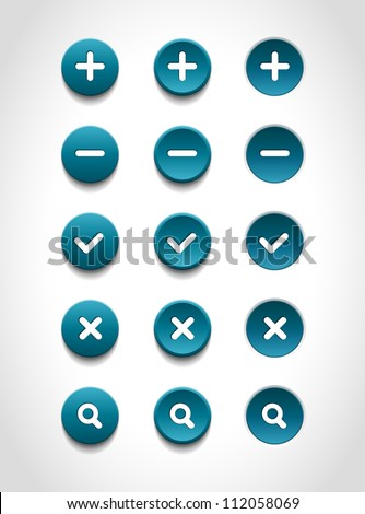 A set of blue vector round web buttons