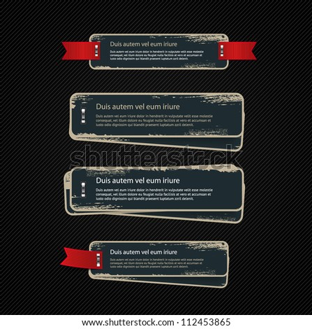 A set of blue vector vintage cardboard military style badges / banners with metallic staples and grungy distressed paint texture, decorated with red ribbon tags - stock vector