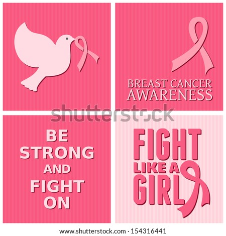 A set of Breast Cancer Awareness cards. - stock vector