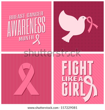 A set of Breast Cancer Awareness cards design with different symbols in pink. - stock vector