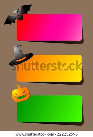 A set of brightly colored paper banners with shadow or invitations for Halloween party with a hat, bat and pumpkin - stock vector