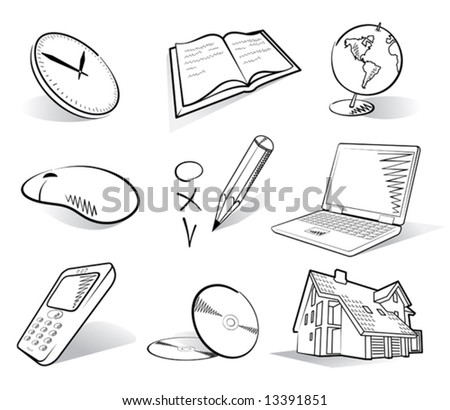 a set of business & house icons - stock vector