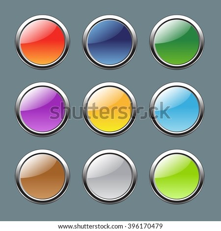 A set of buttons made of plastic with a metallic rim. Colored buttons. - stock vector