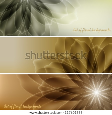 A set of cards with a floral design - stock vector