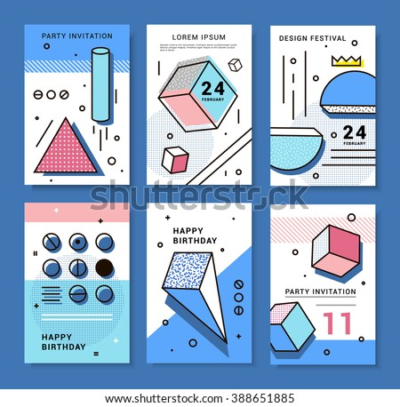 A set of cards with geometric elements Memphis. Bright composition hipster party, festival, birthday card. - stock vector