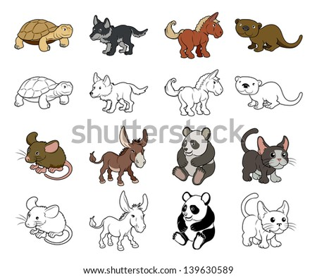 A set of cartoon animal illustrations. Color and black an white outline versions. - stock vector