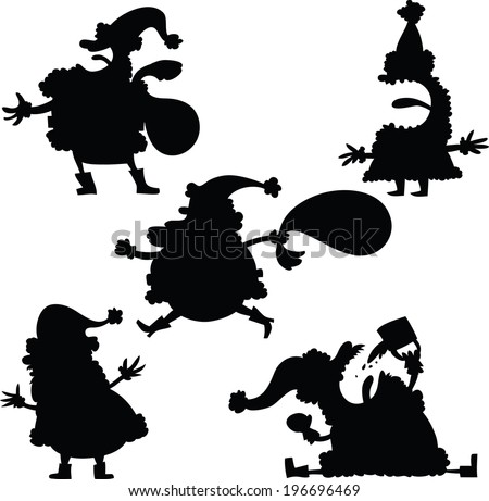 A set of cartoon silhouettes of Santa Claus.